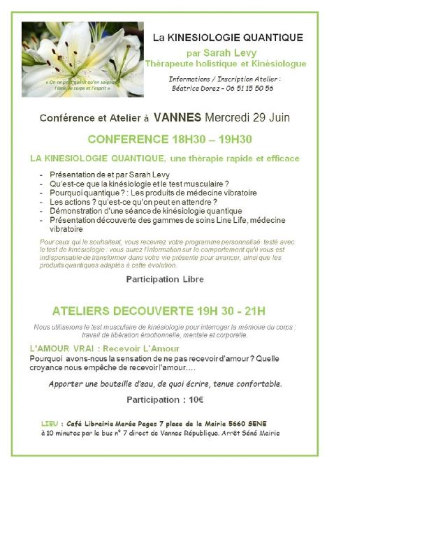 Vannes 29062016 Conférence et Atelier Kinesiologie   Quantique Sarah Levy